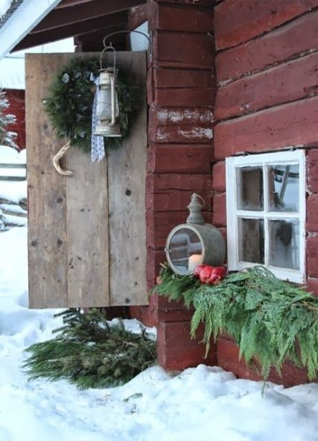 40 comfy rustic outdoor christmas d cor ideas digsdigs for Rustic outdoor decorating