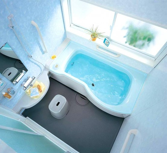 Compact and small bathroom layouts from inax digsdigs for Small bathroom layout with tub