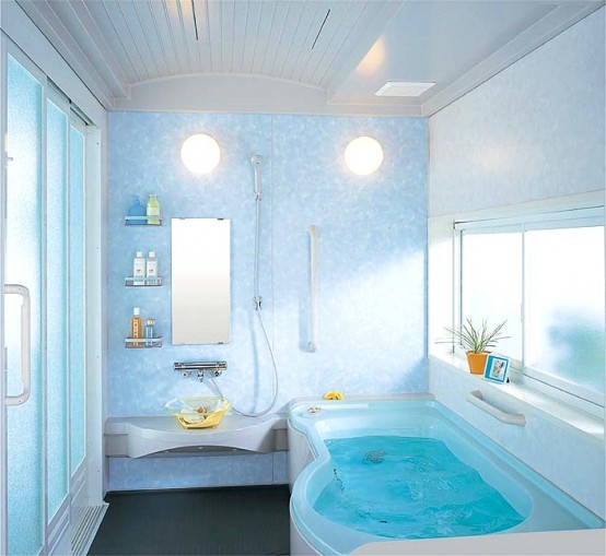 Compact and small bathroom layouts from inax digsdigs for Bathroom ideas light blue