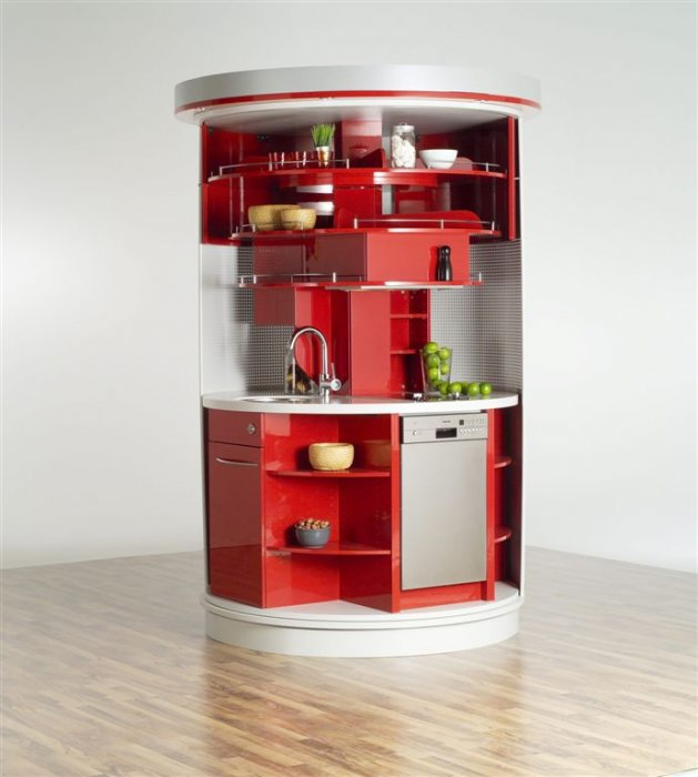 10 compact kitchen designs for very small spaces digsdigs for Small flat kitchen design