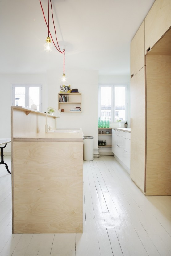 Compact Scandinavian Styled Plywood Kitchen With Mint Touches