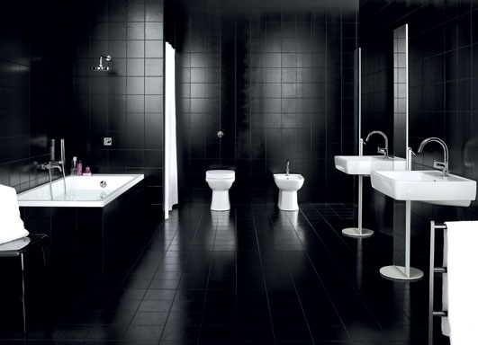 Completely Black Bathroom