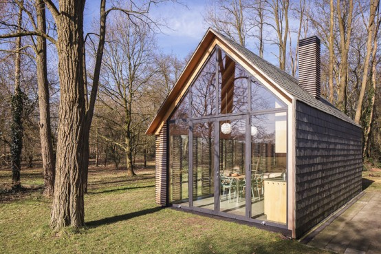 Completely Hand Built Wooden Cabin Filled With Light