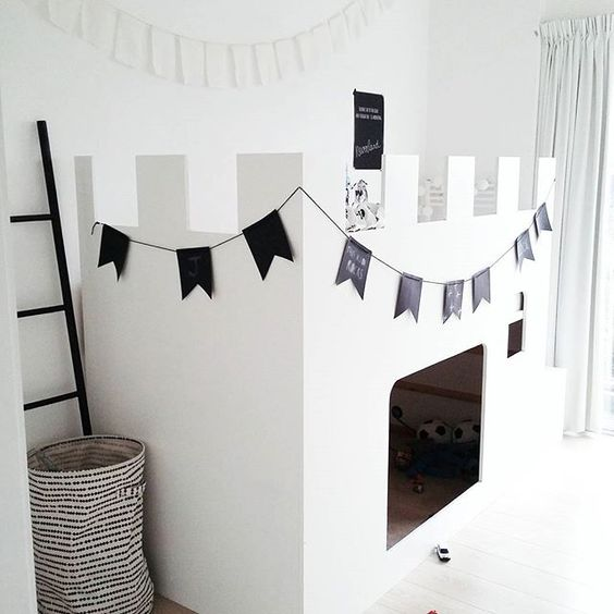 completely white hack to turn ikea kura bed into a play castle for a minimalist room