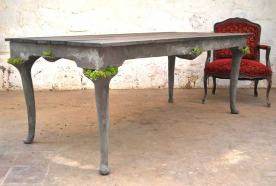 Concrete Furniture With Pockets For Living Plants