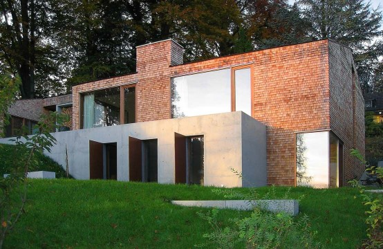 Concrete House Covered With Larch Shingles