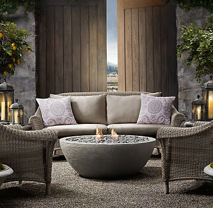 Concrete Outdoor Fireplace – River Rock Fire Bowl from Restoration Hardware