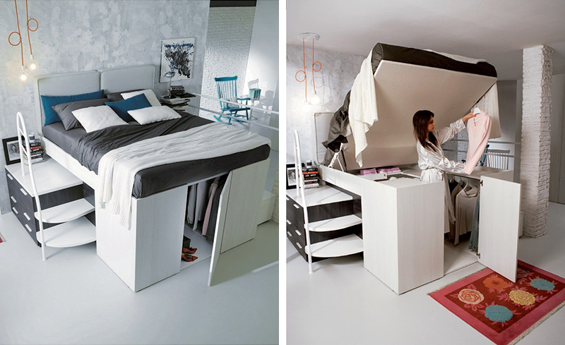 Smart Bed Designed With A Hidden Closet Underneath