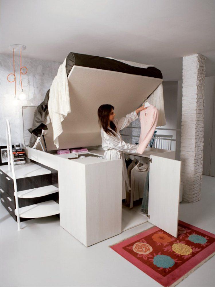 Smart Bed Designed With A Hidden Closet Underneath