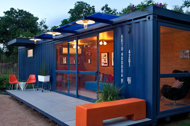 Container Guest House With Floor-To-Ceiling Glass Doors and Windows by ...