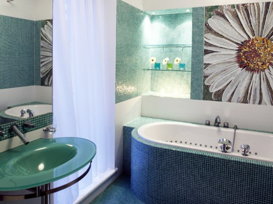 Luxury-bathroom-area-with-amazing-bathtub-modern-tiles-on-walls-washbasin-with-sink-curtain-and-decoration