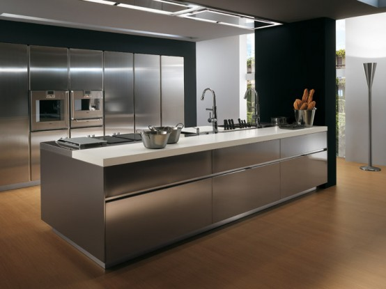 Contemporary Stainless Steel Kitchen Cabinets – Elektra Plain Steel by Ernestomeda