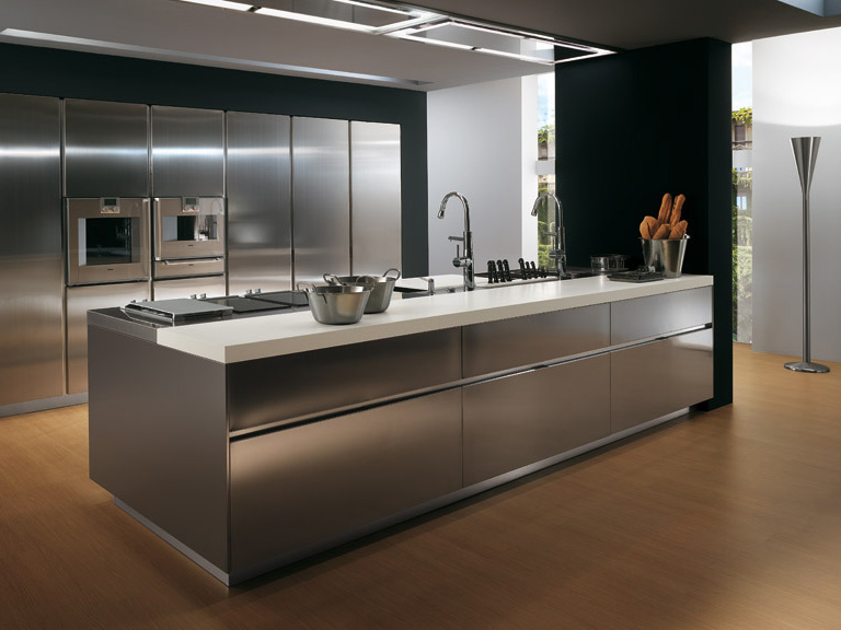 Contemporary stainless steel kitchen cabinets elektra for Metal kitchen cabinets