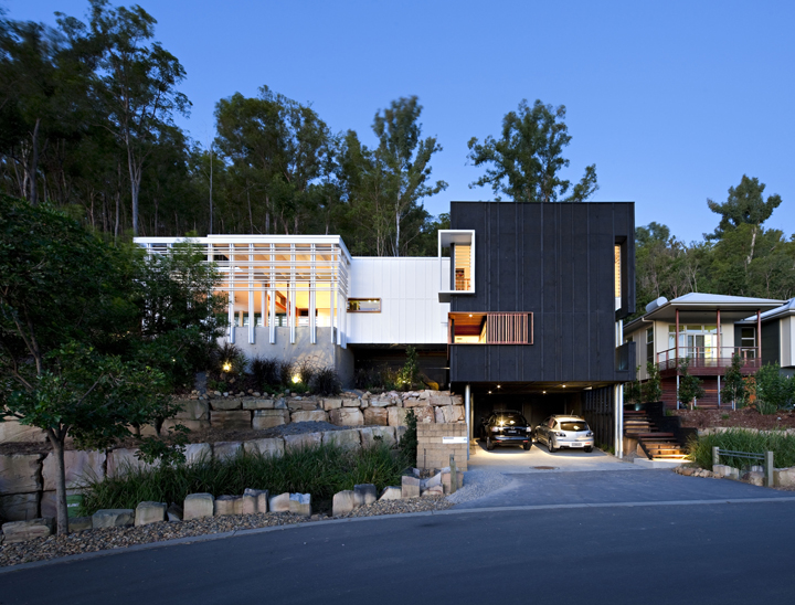 Black and White Timber Clad 3 Storey House on The Hill Side – Stonehawke by Base Architecture