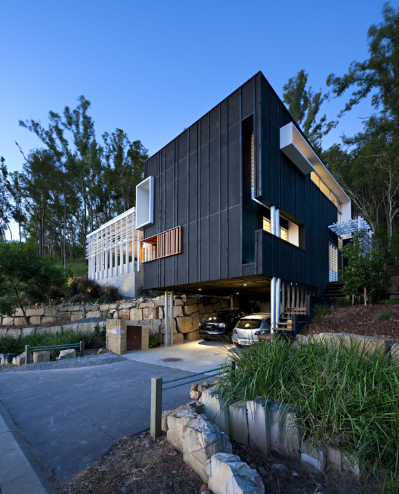 Black And White Timber Clad 3 Storey House On The Hill