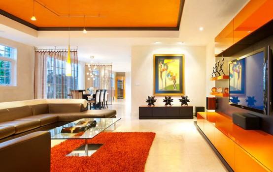 111 bright and colorful living room design ideas digsdigs for Modern living room paint colours