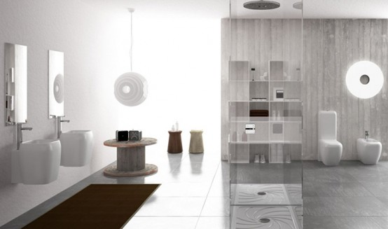 Contemporary Easy-Chic Bathroom Sanitaries and Washbasins – Shui by Ceramic Cielo