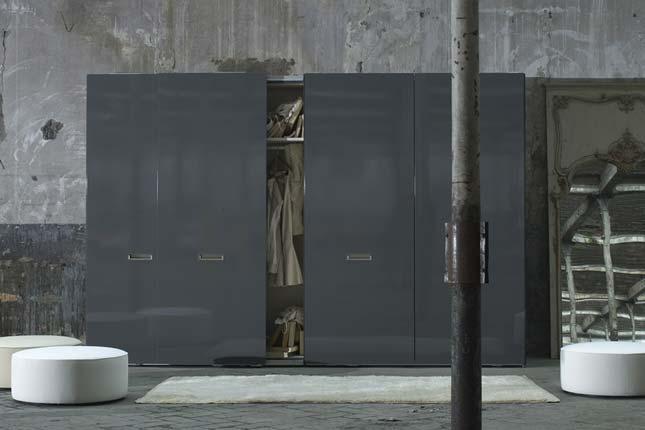 Contemporary Glossy Wardrobe Pod Gray