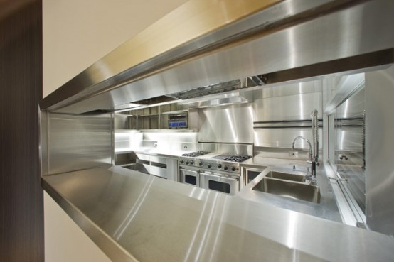 Http Www Digsdigs Com Contemporary House With Completely Stainless Steel Kitchen