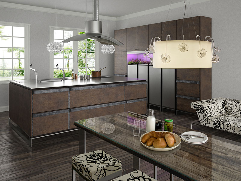 Contemporary kitchen with rustic design by toyo digsdigs for Rustic chic kitchen ideas