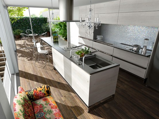 Contemporary Kitchen With Rustic Design