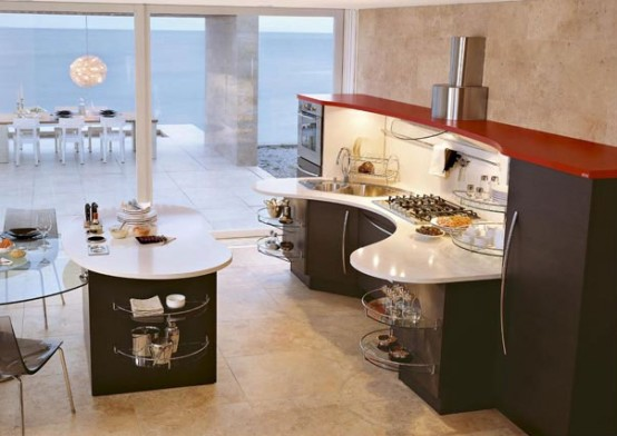 Contemporary Kitchens with Curved Tops – Skyline by Snaidero