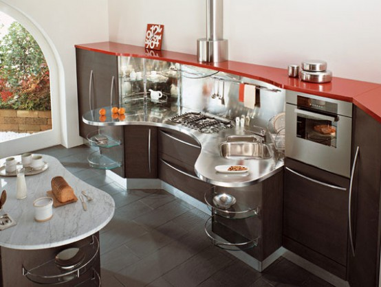 Contemporary Kitchens with Curved Tops Skyline by Snaidero DigsDigs