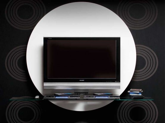 Contemporary Round White Tv Stand