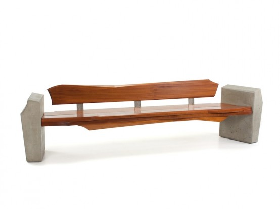 Contemporary and Sleek Yet Natural Outdoor Bench by Nico Yektai