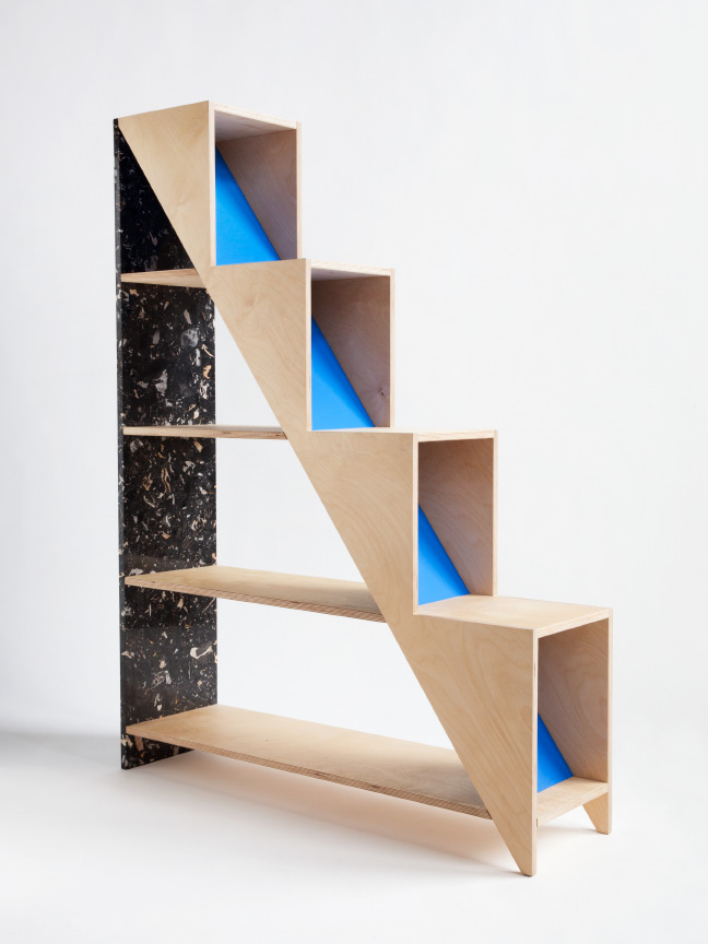 Contrating Hi-Lo Shelving Of Marble And Plywood