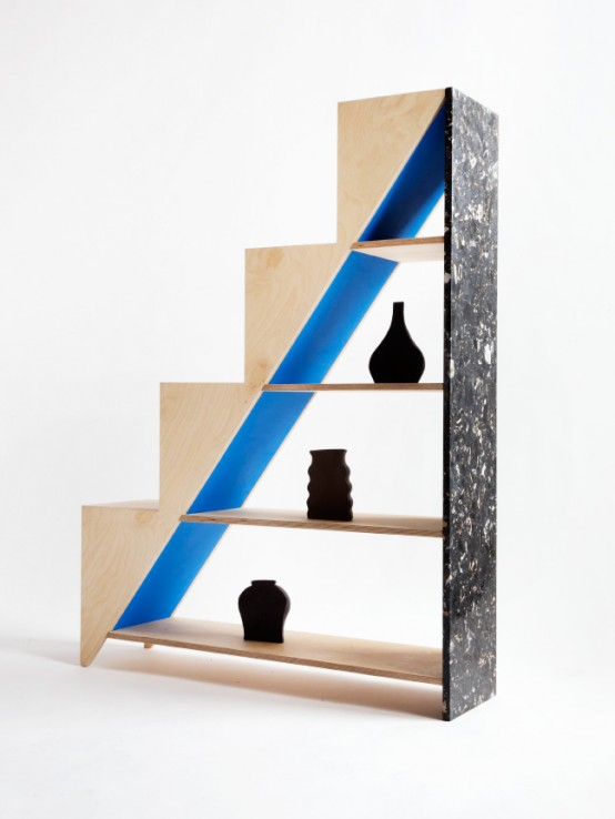Contrasting Hi Lo Shelving Piece Of Marble And Plywood