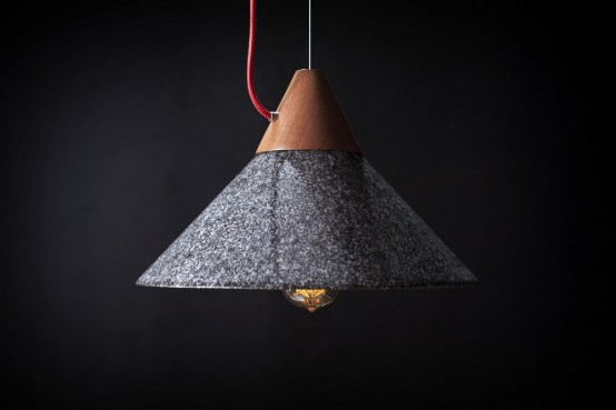 Contrasting MIKA 350 Pendant Lamp Of Wood And Granite