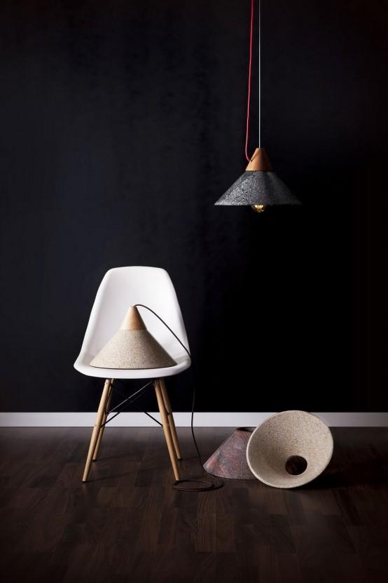 Contrasting Mika 350 Pendant Lamp Of Granite And Wood
