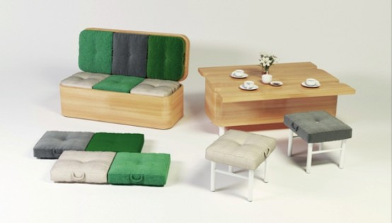Convertible sofa that changes into a dining table digsdigs for Sofa tiefe sitzfl che