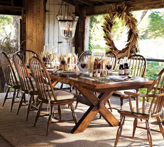 a corn husk and cob wedding is a stylish idea for decorating for a rustic Thanksgiving party like this one