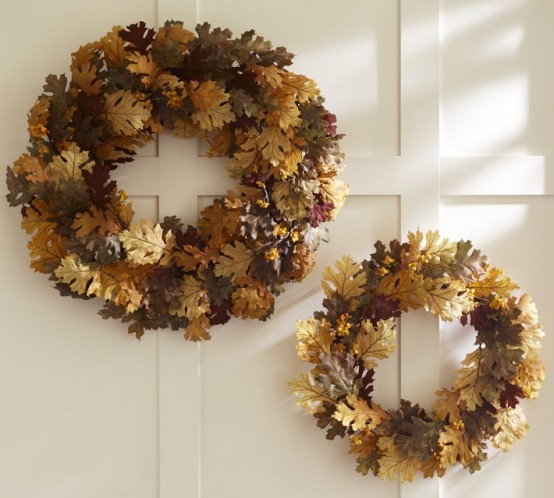 a duo of pretty and cute fall leaves in various colors is a lovely idea for fall and Thanksgiving decor and you can DIY them easily