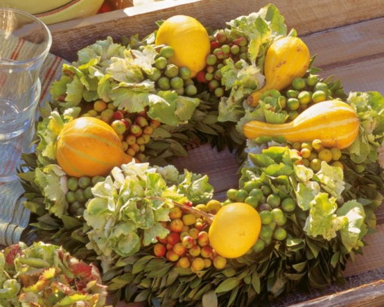 a bold and pretty veggie Thanksgiving wreath of faux grapes, leaves and gourds is a lovely craft for the fall and for Thanksgiving