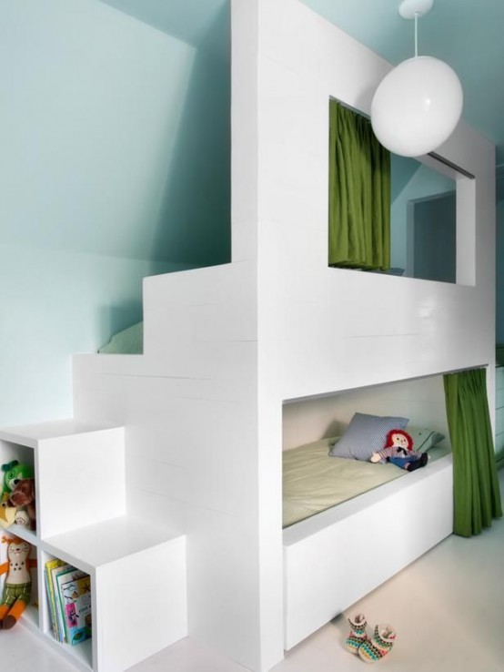 26 cool and functional built in bunk beds for kids digsdigs - Kinderkamer coloree ...
