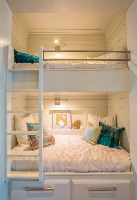 Vintage Cool And Functional Built In Bunk Beds For Kids