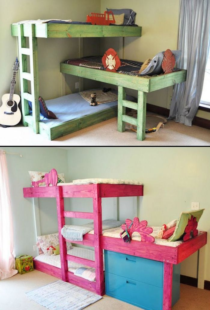 31 cool and practical bunk beds for more than two kids for Three bed