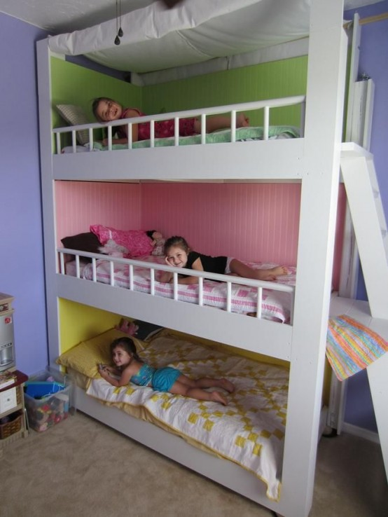 31 cool and practical bunk beds for more than two kids for Bedrooms and more