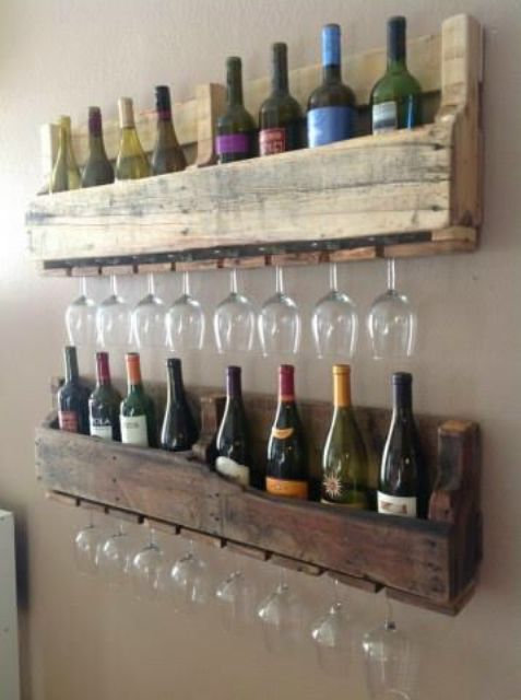 reclaimed wood wall-mounted shelves for wine bottles with holders for glasses