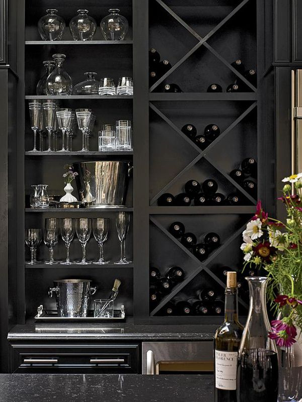 a wine storage unit for wine bottles in a kitchen cabinet is a simple and most popular idea to rock
