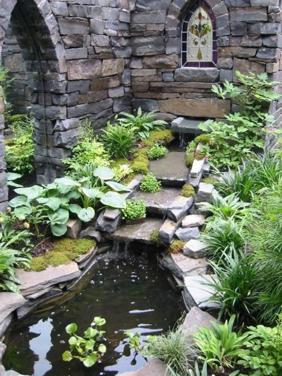 Every pond should be surrounded by stones to remind mountain landscapes. The more you add, the better it looks.