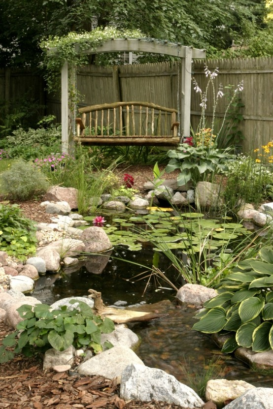 a swing arbor is one of those things you can build near a pond to help - Koi Pond Design Ideas