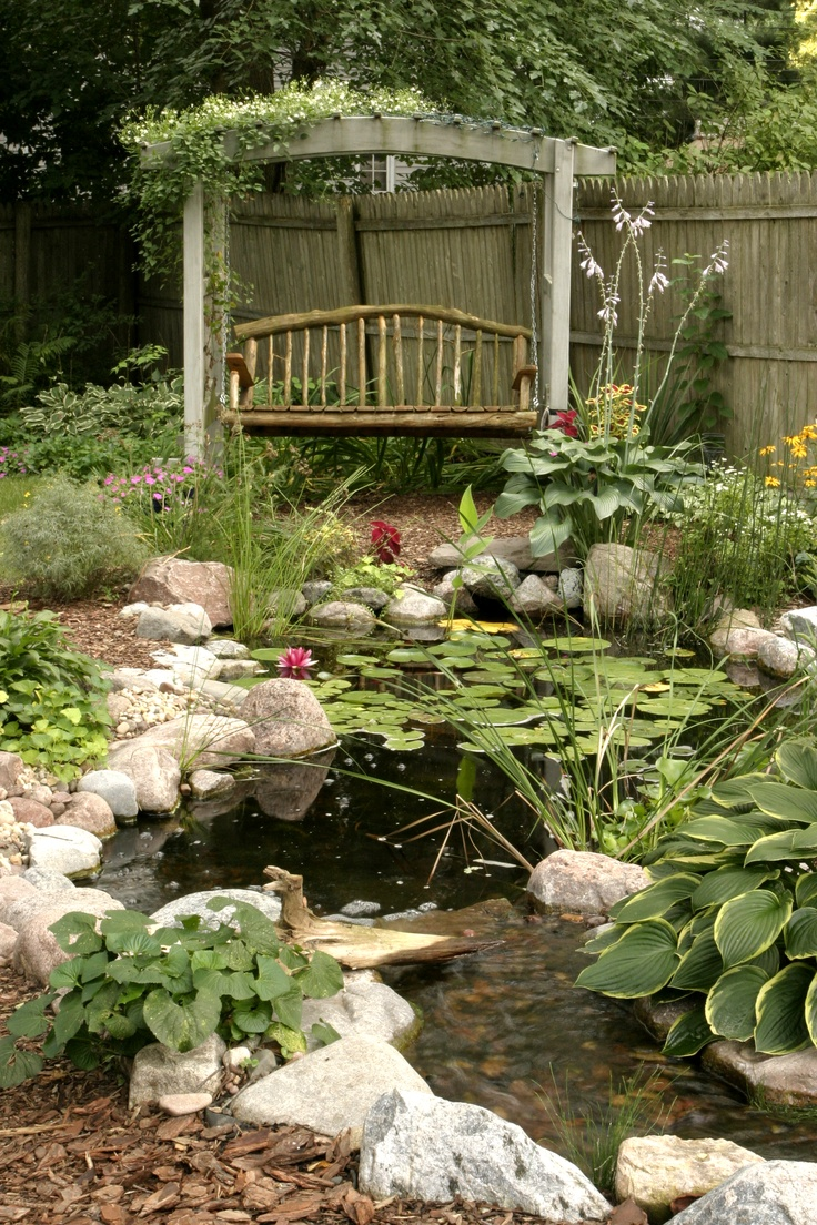 53 cool backyard pond design ideas digsdigs for Cool outdoor patio ideas