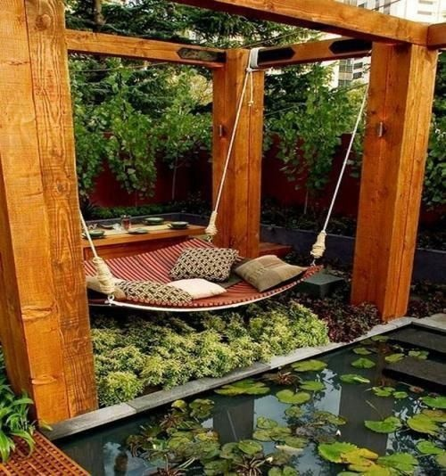 A hammock is another great thing to build near the pond. Perfect place for daydreaming.