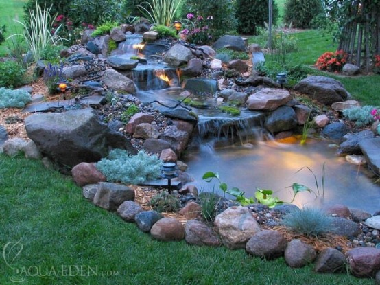 67 cool backyard pond design ideas digsdigs for Ornamental pond waterfall