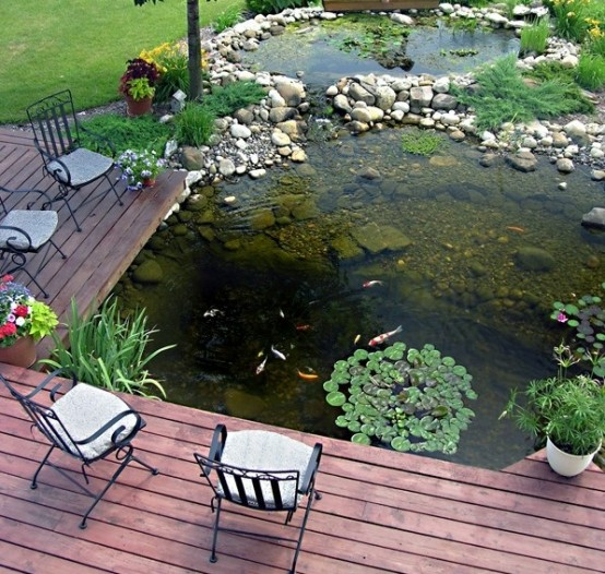 67 cool backyard pond design ideas digsdigs for Koi pond deck