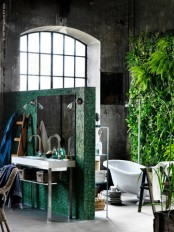 Cool Bathroom With A Wall In Greenery